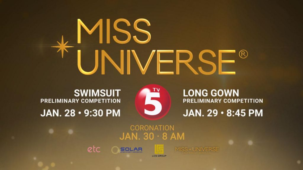 Entertainment: TV5 to Air Exclusive Coverage of the 65th Miss Universe Swimsuit and Evening Gown Competition