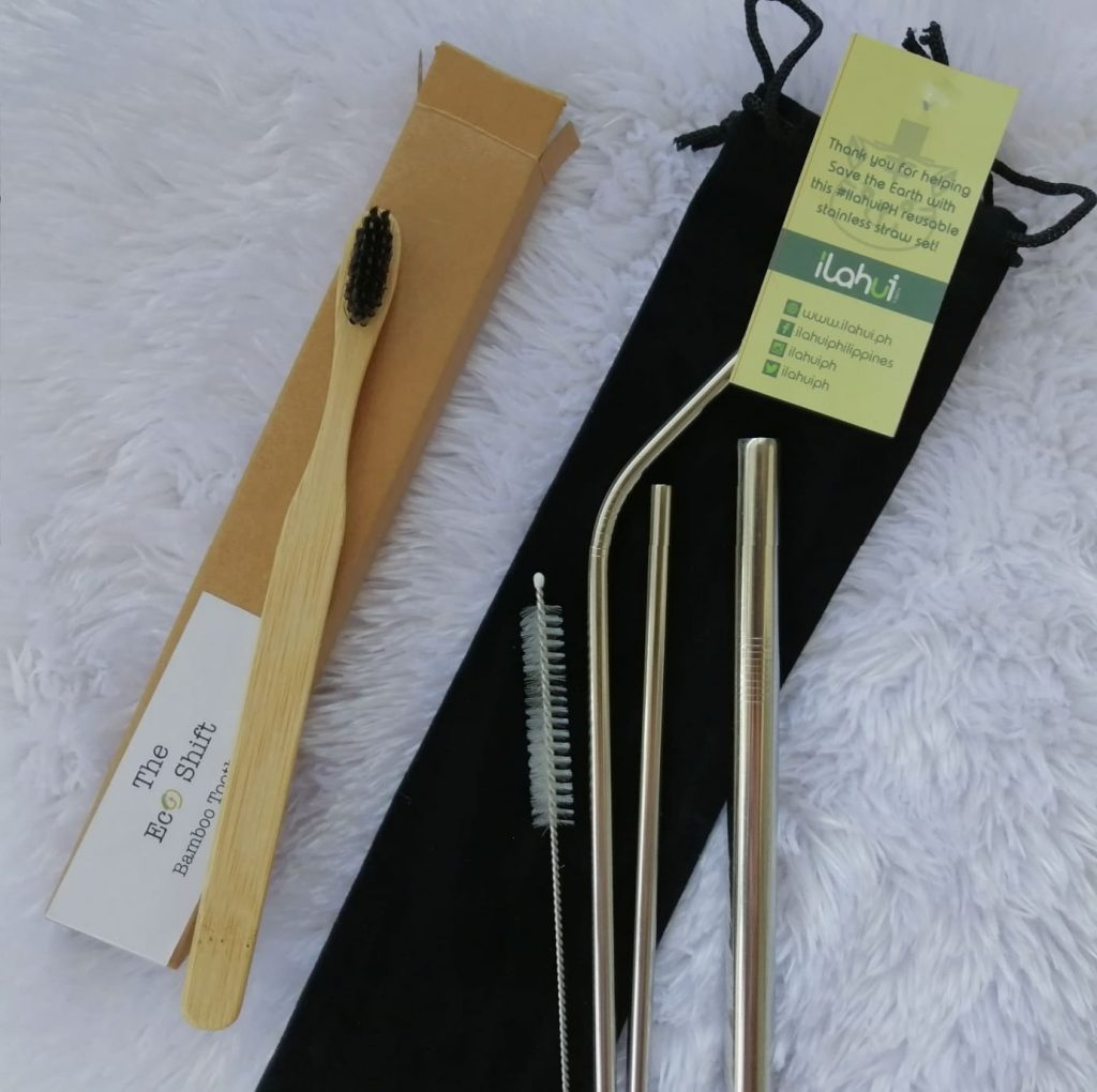 Bamboo toothbrush and stainless straws