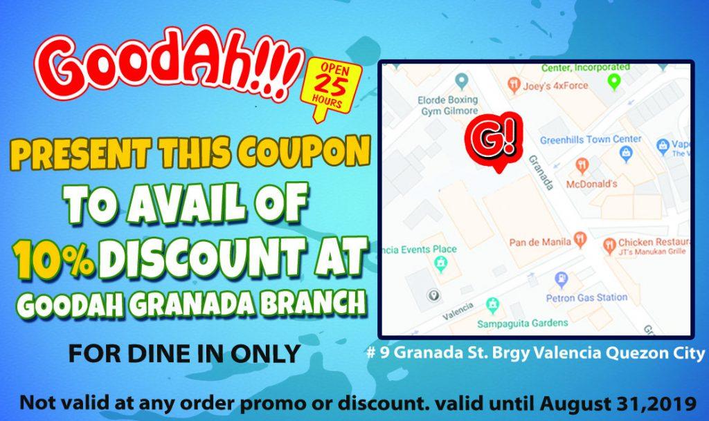 GoodAh!!! Granada Branch coupon
