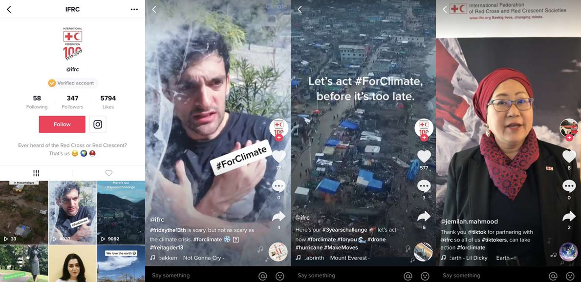 The IFRC official account on TikTok has also released a series of official videos of global volunteers and staff.