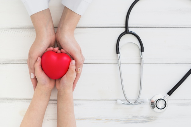 hands holding a heart with stethoscope