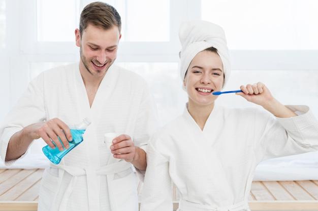 couple dental health care routine