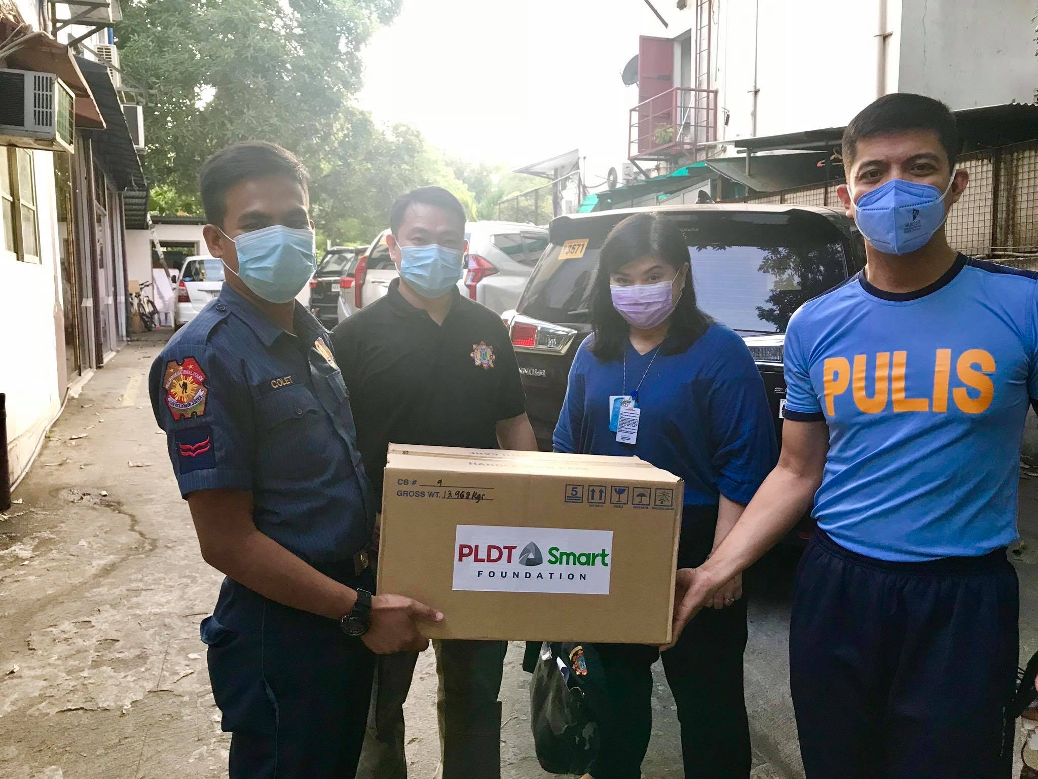 The Philippine National Police is provided with reusable face masks and Ascorbic Acid from PSF.