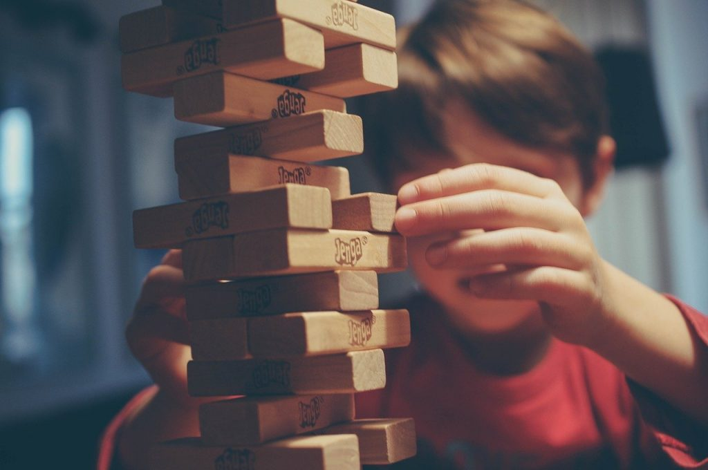 playing jenga